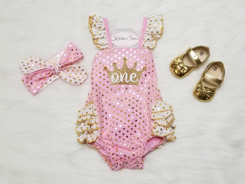 16dc72a0614 1st Birthday Romper   Pink Gold   Glitter Crown   Ruffles