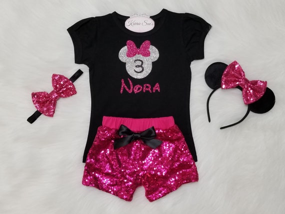 Disney Clothes Toddler Minnie 3rd Birthday Outfit Girls Minnie Birthday Outfit Look Whos 3 Minnie Mouse Birthday Outfit