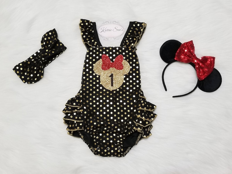 7aec3fb74da2 Minnie Mouse 1st Birthday Romper   Black   Gold + Red   Disney Princess   First  Birthday Outfit   Cake Smash Outfit   Baby   Girl ...
