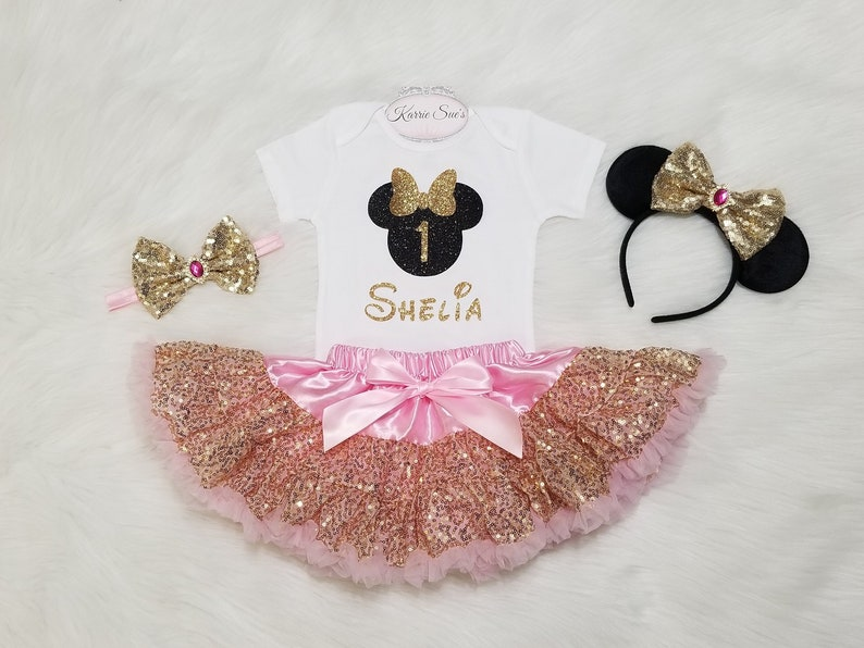 ac6f60299eb4 Minnie Mouse 1st Birthday Outfit   Pink   Gold Pettiskirt
