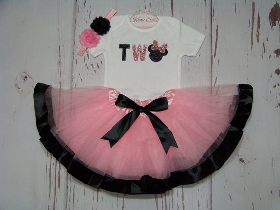 Minnie Mouse 2nd Second Birthday Girl Tutu Outfit Shirt Headband Baby Pink