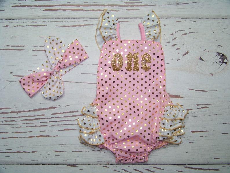 e994fa3c9d3 1st Birthday Romper   Pink White Gold   Sparkle   Ruffles