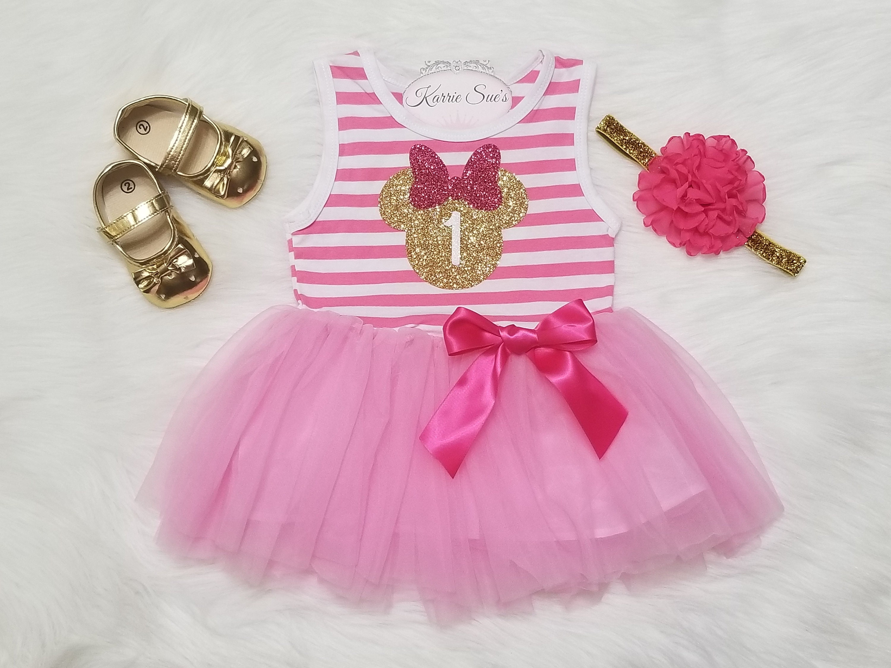 14d005790481 Minnie Mouse 1st Birthday Outfit   Pink   Gold   First