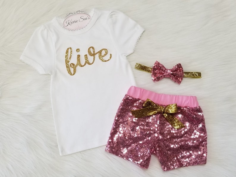 5th Birthday Outfit  Pink Sequin Shorts  Glitter Gold Five  Fifth Birthday  Bling  Princess  Cake Smash  Party  Girl  Toddler