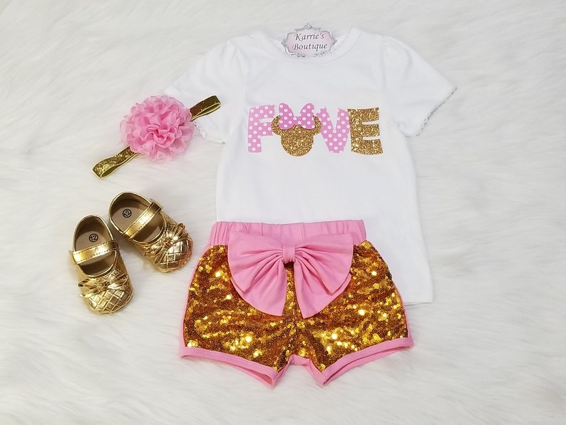 51a2fa2bc9 Minnie Mouse 5th Birthday Outfit   Pink   Glitter Gold
