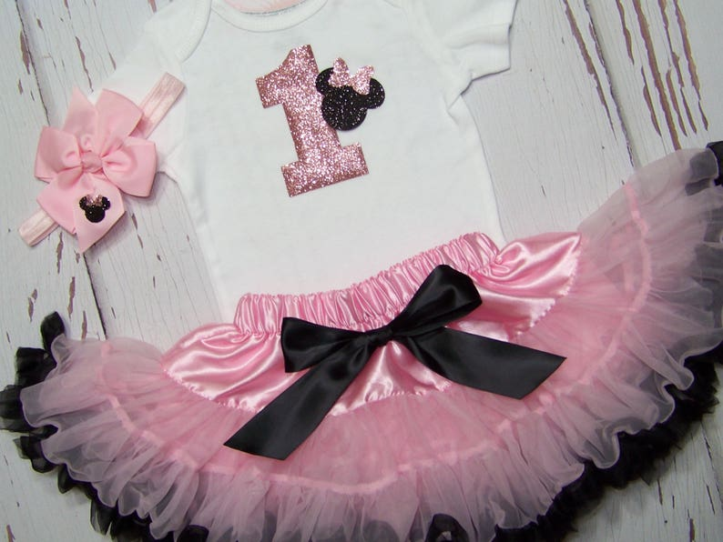 965fefda4725 Minnie Mouse 1st Birthday Outfit   Pink   Black   Pettiskirt
