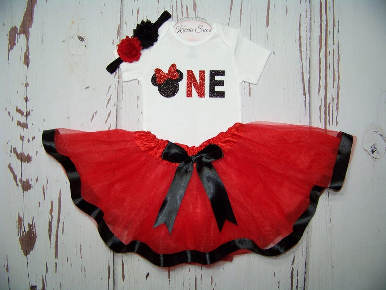 0b0c69f742ed Minnie Mouse First Birthday Outfit   Red   Black   Onesie