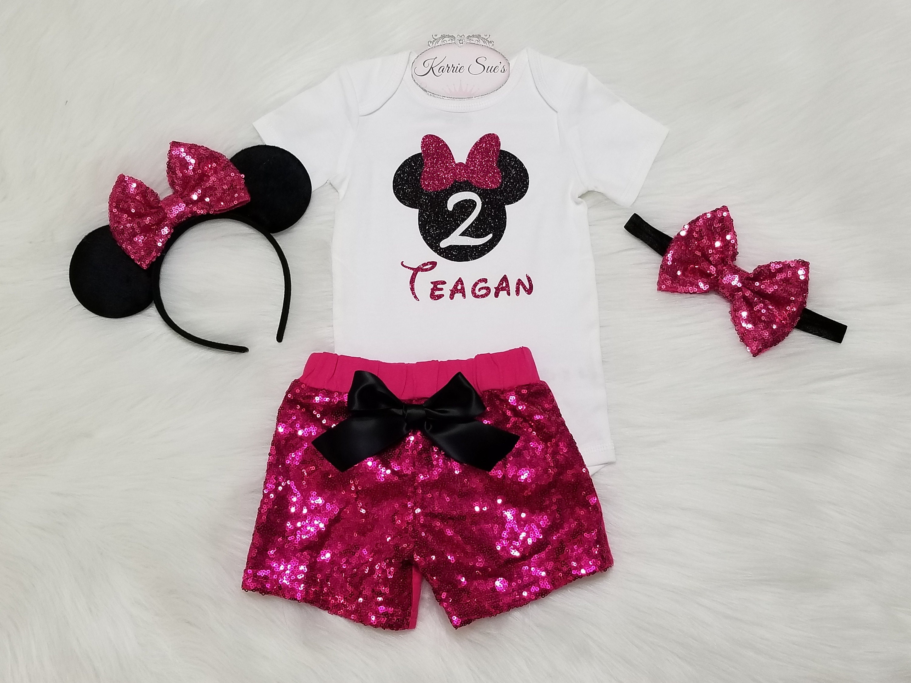 Swell Minnie Mouse 2Nd Birthday Outfit Hot Pink Black Disney Etsy Personalised Birthday Cards Veneteletsinfo