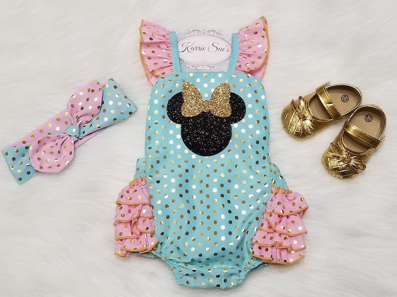 ac37e695d25 Minnie Mouse Romper   Aqua Pink Gold   Disney Birthday