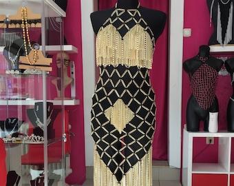 Chain Jewelery Dress custom made cleopatra quen shoulder jewelry gold  Cross BDSM Choker Harness Fetish Glamour Gothic