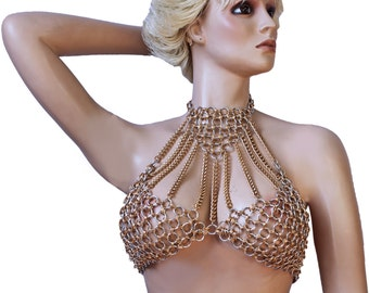 cb4cb46c6e CHAIN BRA body necklace Lingerie Gold cleopatra queen Choose Size over size  A B C D fetish o Ring