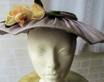 cb701620989 1950 s Dior New Look Inspired Pleated Flat Ladies Hat Vintage Retro Spring  Easter Wedding
