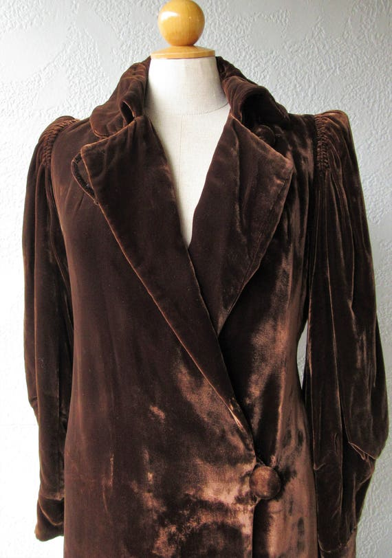 1930s Velvet Opera Coat with Purse