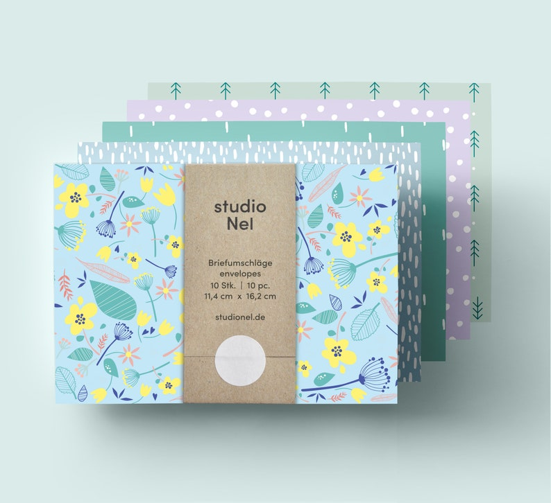 Patterned Envelopes MIX set of 10 pcs image 0