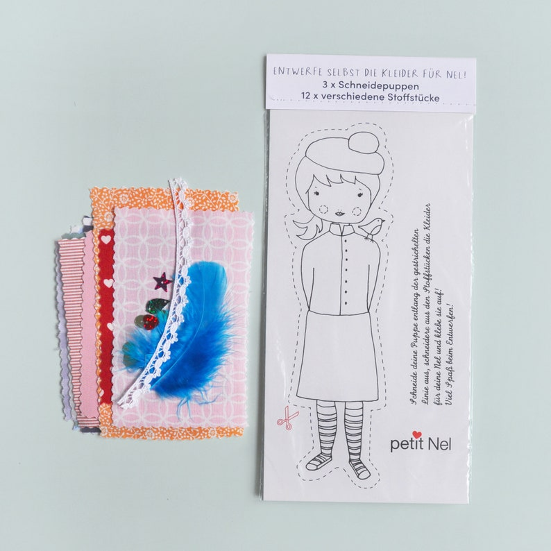 Cutting doll with fabric for design 3 cutting puppet cards image 0