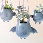 Flying Bat Hanging Plant Holder. A Cute Bat Shaped Hanging Vase in Ceramic. Handmade in Italy. Halloween Decoration.