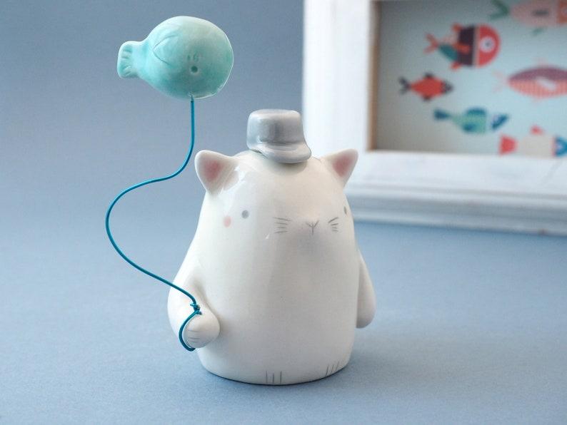 White Cat and Fish Figurine. Cute Ceramic White Cat Miniature image 0