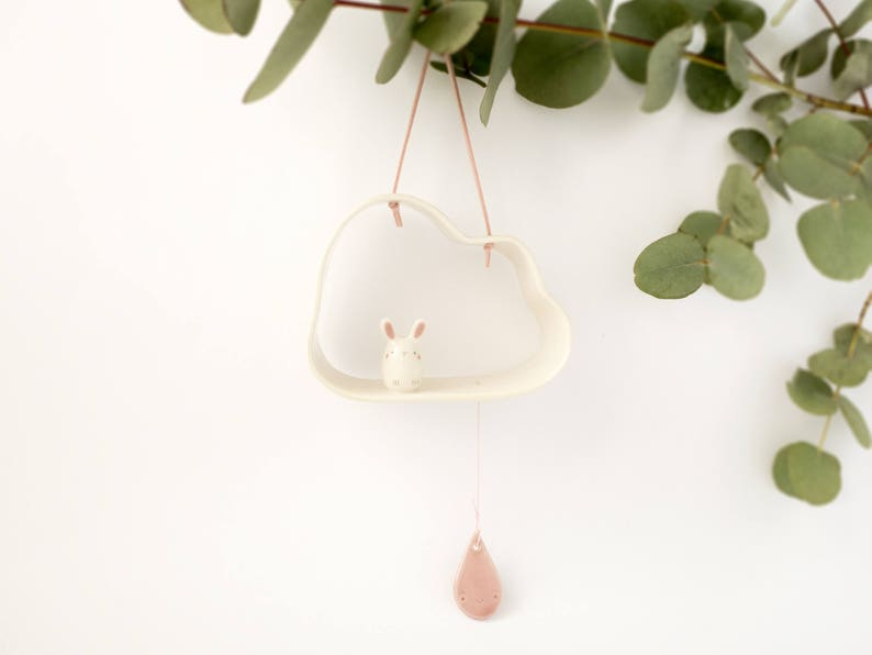 Hanging Cloud Mobile Bunny Baby Mobile. An Unique Baby Shower image 0