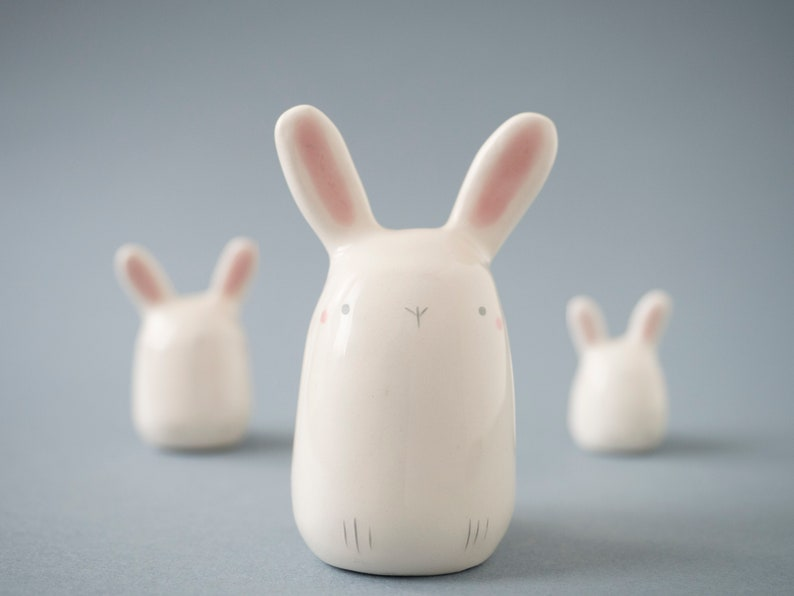 Ceramic Bunny Figurine, Easter White Bunny Sculpture, Pottery Animal Totem Made In Italy, Gift Ideas. by Etsy