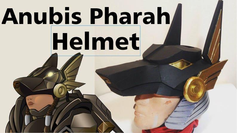 DIY Overwatch Pharah Anubis Helmet Pattern Printable Template Cosplay Costume Armor Eva Foam Game Helmet