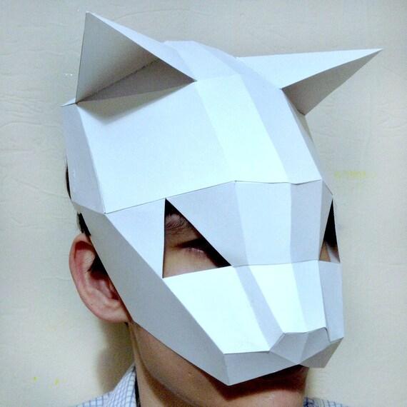 Animal Mask Set Paper Helmet Polygon Low Poly Group Fancy   Etsy