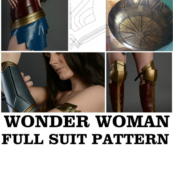 wonder woman full suit pattern template female armor halloween etsy