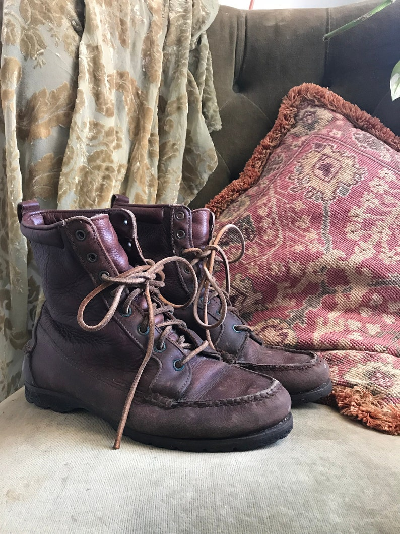 vintage timberland boots, vintage leather boots, lace up timberland boots, lace up leather boots