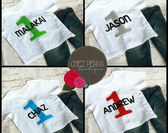 First Birthday Outfit Boy One Year Old Shirt PERSONALIZED