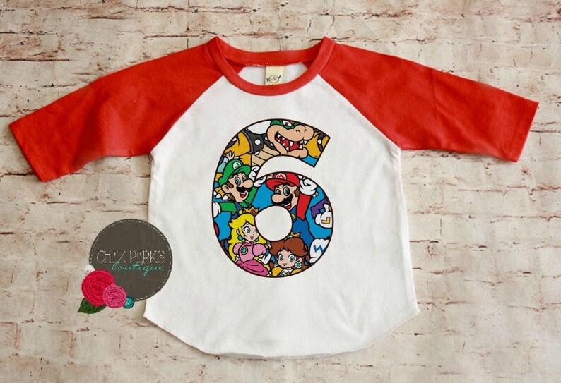 Super Mario Brothers Birthday Shirt Birthday Boy Shirt Super