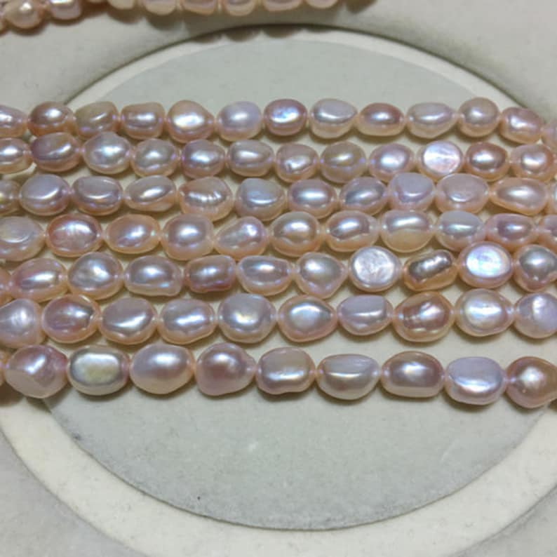8-9mm Baroque Pearl Strand Genuine Loose Pearl Bead AA Real Cultured Pearl Necklace PEA46 Freshwater Pearl Strand Natural Pearl Strand