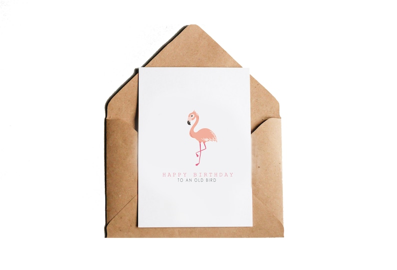 Flamingo card Birthday Card for her Card for him Greeting Card Birthday old bird Happy Birthday Birthday Card Best friend birthday