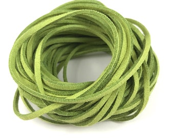 a3ff63b96f264 30 ft (10 yard) 3 mm x 1.5 mm light olive green faux suede leather flat cord
