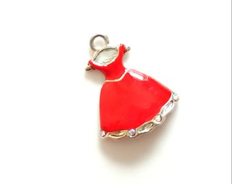 1 pc fire engine red dress enamel and silver toned metal alloy charm 20x20 mm | craft supply | diy | jewelry