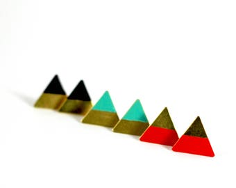 Earrings geometric brass triangle painted