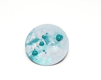 Brooch Full Moon grey/Blue