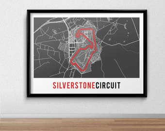 Silverstone Circuit Poster,  British Grand Prix, Racing Print, gift, F1, Formula One, Map Print,  Present