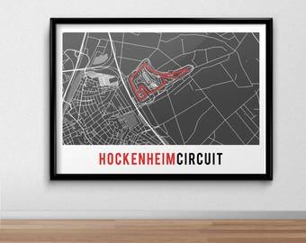Germany Circuit Poster, Hockenheimring, Hockenheim,  German Grand Prix, Racing Print, gift, F1, Formula One, Map Print,  Present