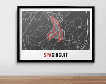 Spa Circuit Poster, Circuit de Spa-Francorchamps,  Belgium, Belgian Grand Prix, Racing Print, gift, F1, Formula One, Map Print,
