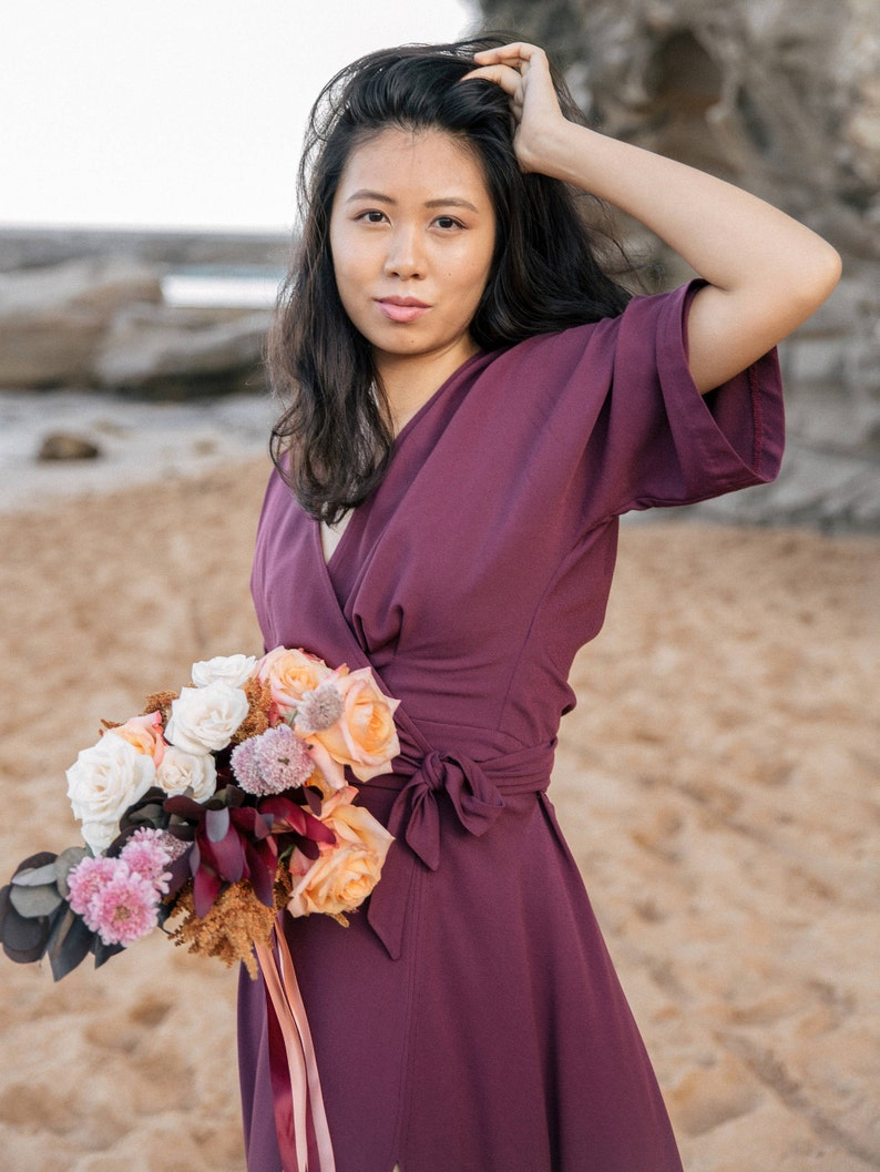 Romantic maxi dress in a burgundy plum Also available in plus sizes. perfect for a rustic style wedding Kimono wrap dress for bridesmaids