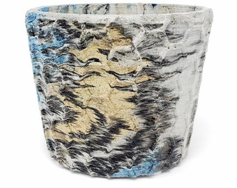 Marbled Concrete Planter Honeycomb Geometric  - Blue Gold and Black Marbling - Indoor / Outdoor Plant Pot