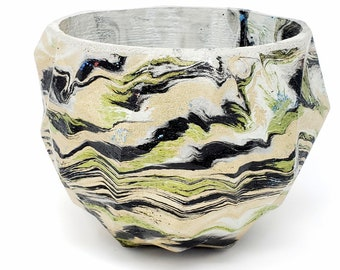 Marbled Concrete Planter Geometric  - Green Gold and Black Marbling - Indoor / Outdoor Plant Pot