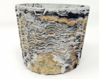 Marbled Concrete Planter Honeycomb Geometric  - Gold Brown and Black Marbling - Indoor / Outdoor Plant Pot