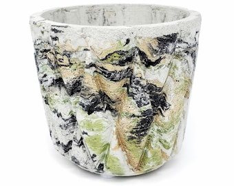Marbled Concrete Planter Geometric Lattice Small - Green Gold and Black Marbling - Indoor / Outdoor Plant Pot