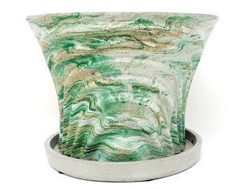 Marbled Concrete Planter Large Waves - Gold and Green Marbling - Indoor / Outdoor Plant Pot