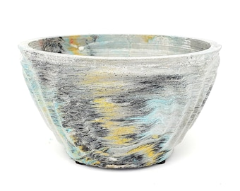 Marbled Concrete Planter Wave Bowl Geometric  - Blue Gold and Black Marbling - Indoor / Outdoor Plant Pot