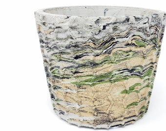 Marbled Concrete Planter Honeycomb Geometric  - Green Gold and Black Marbling - Indoor / Outdoor Plant Pot