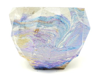 Marbled Concrete Planter Geometric  - Purple Blue and Gold Marbling - Indoor / Outdoor Plant Pot