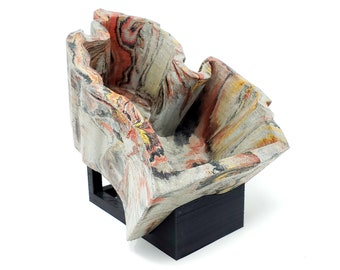 Marbled Concrete Planter Michigan  - Gold Red and Black Marbling - Indoor / Outdoor Plant Pot