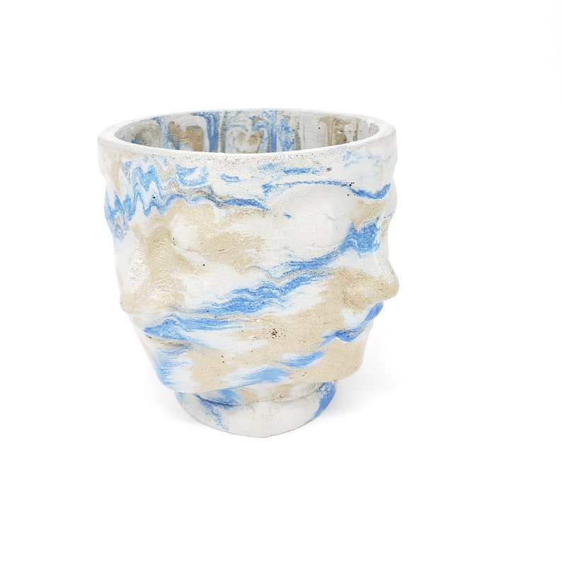 Blue and Gold Marbling Marbled Concrete Planter Faces Head Pot Indoor  Outdoor Plant Pot