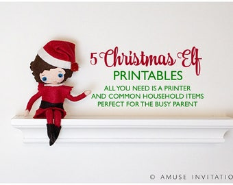 Elf Printable Bundle, Elf Printable Kit, Christmas Matching Game, Elf's Grocery List, Elf Made Lunch, Elf On Strike, Elf Returns